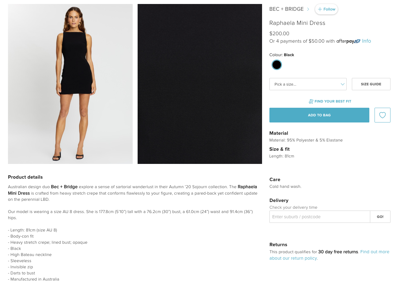 Product description examples for a little black dress from The Iconic