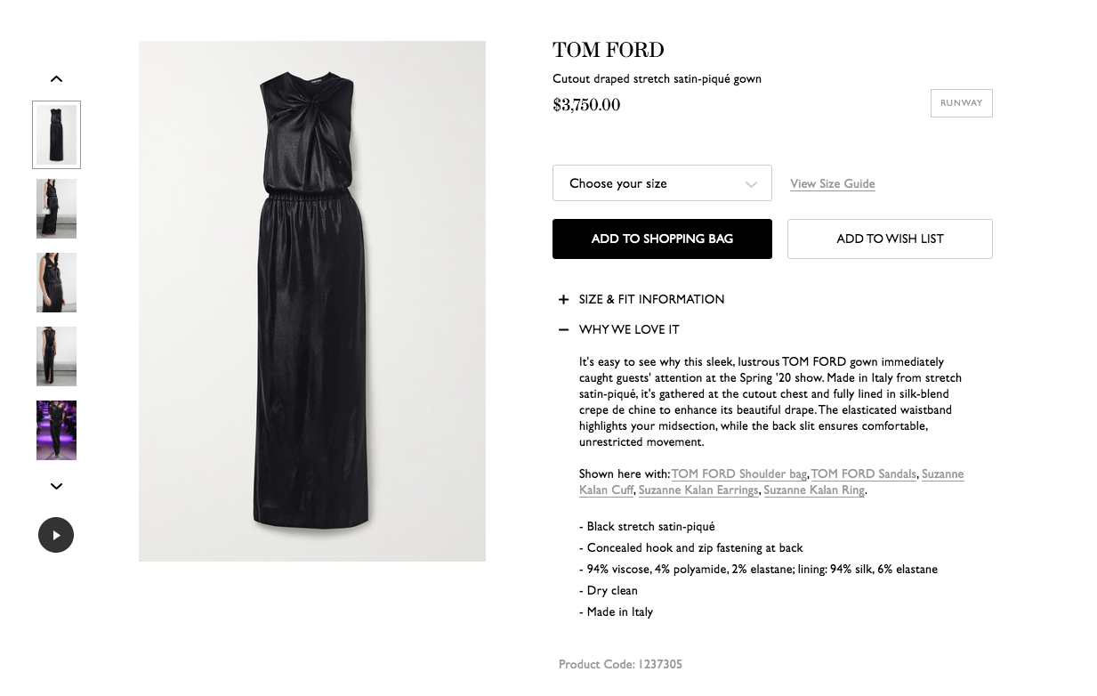Fashion product description examples with a little black dress from Net-a-Porter