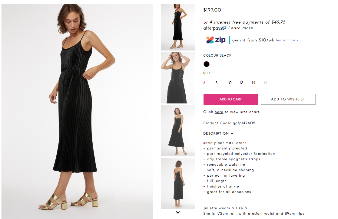 Fashion product description examples with a little black dress from Gorman