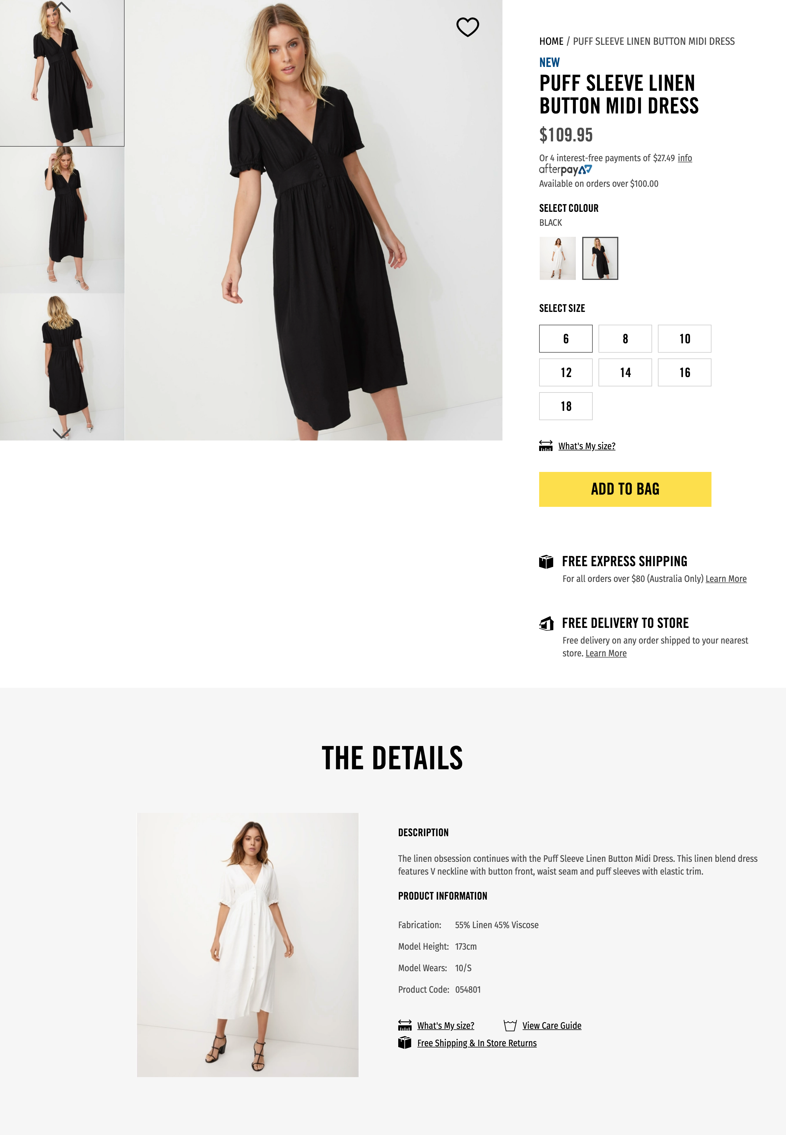 Product description examples for a little black dress from Sportsgirl